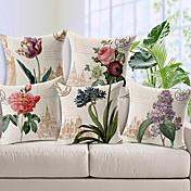 コットン/リネン装飾枕カバーをパターン化5カントリースタイルの花のセット