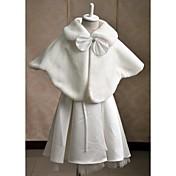 子供用 ケープレット ノースリーブ フェイクファー 結婚式 パーティー カジュアル 折襟 ラインストーン リボン