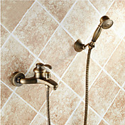 Clásico Bañera y ducha Alcachofa incluida Válvula Cerámica 2 Orificios Sola manija Dos Agujeros Latón Envejecido , Grifo de ducha Grifo