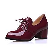 女性用 靴 エナメル 春 夏 秋 チャンキーヒール ブロックヒール 編み上げ のために カジュアル ブラック ベージュ バーガンディー