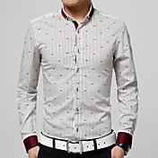 Hombre Casual/Diario Trabajo Formal Tallas Grandes Camisa A Rayas Estampado Manga Larga Algodón