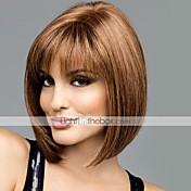 Mujer Pelo humano pelucas sin tapa # 30 # 33 2/33 18/613 30/613 Corto Liso Corte Bob Con flequillo Raya en medio
