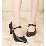 Mujer Moderno Cuero Sandalia Tacones Alto Zapatilla Entrenamiento Principiante Profesional Interior Actuación Hebilla Con Cordón Pelo