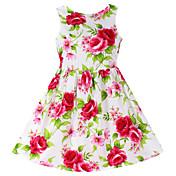 Vestido Chica de Floral Algodón Sin Mangas Primavera Verano Floral Rojo