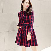 婦人向け タートルネック ボタン ドレス , コットン / ポリエステル 膝上 長袖
