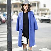 婦人向け 冬 ソリッド コート ブルー / ピンク / グレイ ポリエステル 長袖 ミディアム