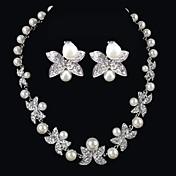 Mujer Cristal Perla artificial Boda Ocasión especial Cumpleaños Pedida Diario Perla Artificial Brillante Legierung Pendientes Collares
