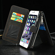 用途 iPhone 8 iPhone 8 Plus iPhone 6 iPhone 6 Plus ケース カバー ウォレット カードホルダー スタンド付き フリップ フルボディー ケース 純色 ハード 本革 のために Apple iPhone 8 Plus iPhone 8