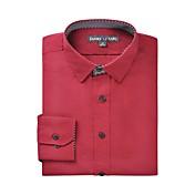JamesEarl Hombre Cuello Camisero Manga Larga Camisa y blusa Borgoña - DA112045383