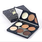 6 colores Polvo Compacto Seco / Combinación / Aceitoso Polvo Condensado Blanqueo / Humedad / Corrector Rostro