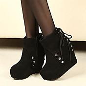 Mujer Tejido Otoño Invierno Casual Con Cordón Tachonado Tacón Cuña Plataforma Negro 2'5 - 4'5 cms
