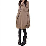 Mujer Corte Ancho Vestido Casual/Diario Simple Tejido Oriental,Un Color Escote Redondo Hasta la Rodilla Manga Larga Primavera OtoñoTiro
