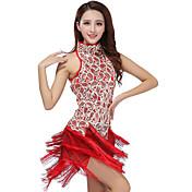 私たちはラテンダンスドレス女性のパフォーマンスのスパンコールドレス