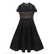 婦人向け カジュアル 黒 ドレス,ソリッド 膝上 ラウンドネック ポリエステル