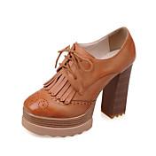 Mujer / Chica Zapatos Semicuero Primavera / Otoño Tacón Cuadrado / Plataforma Con Cordón / Borla Gris / Amarillo / Rosa / Fiesta y Noche