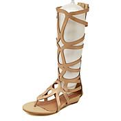 Mujer Zapatos Semicuero Verano Gladiador Tacón Bajo para Casual Negro Dorado