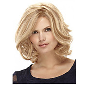 Mujer Pelucas sintéticas Medio Rizado Rubia Parte lateral Corte Bob Con flequillo Peluca natural Pelucas para Disfraz
