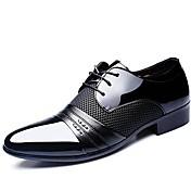 メンズ 靴 エナメル 春 夏 秋 冬 コンフォートシューズ オックスフォードシューズ 編み上げ 用途 結婚式 パーティー ブラック Brown