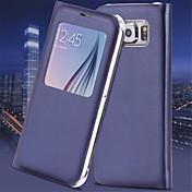 Para Samsung Galaxy S7 Edge com Visor / Hibernação/Ligar Automático / Flip Capinha Corpo Inteiro Capinha Cor Única Couro PU SamsungS7