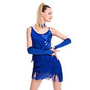 ラテンダンス ドレス 女性用 性能 スパンコール プロミックス タッセル ノースリーブ ナチュラルウエスト ドレス