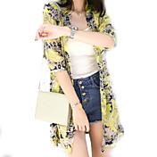 Mujer Bonito Chic de Calle Noche Verano Camisa,Asimétrico Floral 3/4 Manga Poliéster Fino