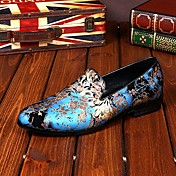 メンズ 靴 レザー 春 夏 秋 冬 コンフォートシューズ アイデア ローファー&スリップアドオン フラワー 用途 結婚式 パーティー ブルー ピンク