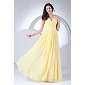 vaina / columna v-cuello piso longitud chiffon vestido de dama de honor con el lado drapingby xfls