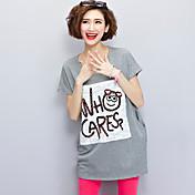 De las mujeres Recto / Camiseta Vestido Simple / Activo Estampado Mini Escote Redondo Algodón