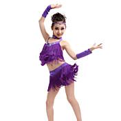 Baile Latino Accesorios Niños Representación Espándex Poliéster 6 Piezas Sin mangas Cintura Alta Top Falda Guantes Tocados Neckwear