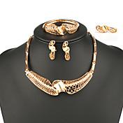 Mujer Conjunto de joyas - Moda, Importante Incluir Collar / pulsera / Collar / pendientes / Pendientes / pulsera Dorado Para Boda / Fiesta / Diario / Collar / anillo / Anillos / Collare / Pulsera