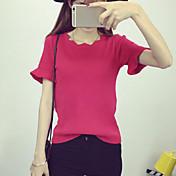 Mujer Regular Pullover Casual/Diario Chic de Calle,Un Color Rosa Rojo Blanco Negro Escote Redondo Manga Corta Rayón Verano Medio Elástico