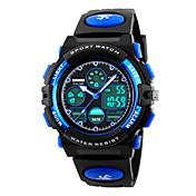 SKMEI Niño Reloj Deportivo Reloj de Moda Cuarzo Despertador Calendario Cronógrafo Resistente al Agua LED Dos Husos Horarios Cronómetro