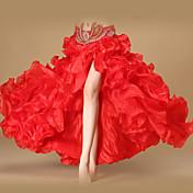 ベリーダンス ボトムズ 女性用 性能 ポリエステル オーガンザ フリル フロントスリット ノースリーブ ローウエスト スカート