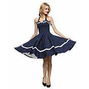 Mujer Línea A / Corte Skater Vestido Fiesta/Cóctel Vintage,A Rayas Halter Hasta la Rodilla Sin Mangas Azul / Rojo / Negro Algodón Verano