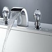 アンティーク 組み合わせ式 滝状吐水タイプ with  セラミックバルブ 三つ 二つのハンドル三穴 for  クロム , バスルームのシンクの蛇口