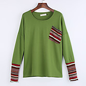 De las mujeres Simple Casual/Diario Primavera / Otoño Camiseta,Escote Redondo A Rayas Manga Larga Algodón Rojo / Verde Medio