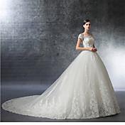 ドレスによるクリスタルビーズ付きのa-lineオフザショルダー大聖堂トレインサテンウェディングドレス