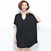 女性 カジュアル/普段着 夏 Tシャツ,シンプル Vネック ソリッド レッド / ブラック ポリエステル 半袖 薄手