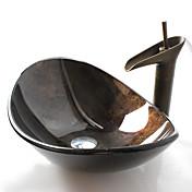 Antiguo T12*L540*W360*H165 Rectangular material del disipador es Vidrio TempladoLavabo de Baño / Grifería de Baño / Anillo de Montura de