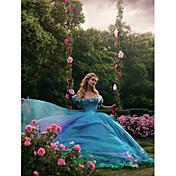 Salón Princesa Cuello en V Capilla Organza Tul Charmeuse Evento Formal Vestido con Cuentas Flor(es) Volantes por Huaxirenjiao