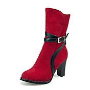 Mujer Zapatos Semicuero Primavera Otoño Invierno Botas de Moda Botas Paseo Tacón Robusto Cremallera Para Casual Negro Marrón Rojo