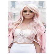 Mujer Largo Rosa claro Ondulado Parte lateral Con flequillo Pelo sintético Peluca de cosplay