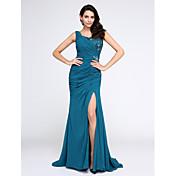 Sirena / trompeta v-cuello barrido / cepillo tren vestido de noche de gasa con apliques de cristal por ts couture®