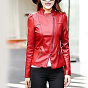 婦人向け カジュアル/普段着 秋 レザージャケット,ストリートファッション シャツカラー ソリッド レッド / ブラック ポリウレタン 長袖 ミディアム