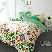 Floral Sets Funda Nórdica 4 Piezas Algodón Diseño Estampado reactivo Algodón Reina1 Funda de edredón / 2 Fundas de Almohada / 1 Sábana