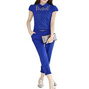 婦人向け セクシー / パーティー ポリエステル ジャンプスーツ , マイクロエラスティック 薄手 半袖