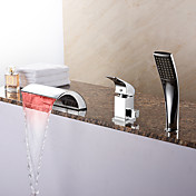 現代風 ローマンバスタブ LED 滝状吐水タイプ ハンドシャワーは含まれている with  セラミックバルブ シングルハンドル三穴 for  クロム , 浴槽用水栓