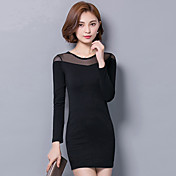Mujer Corte Bodycon / Pequeño Negro Vestido Noche / Casual/Diario / Tallas Grandes Chic de Calle,Un Color Escote Redondo Sobre la rodilla