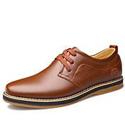 男性用 靴 レザー 春 秋 コンフォートシューズ オックスフォードシューズ ウォーキング 編み上げ のために カジュアル オフィス&キャリア ブラック Brown
