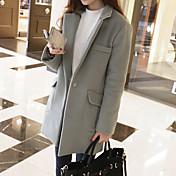 女性 カジュアル/普段着 春 / 冬 ソリッド コート,シンプル シャツカラー ブラック / グレイ ウール 長袖 ミディアム